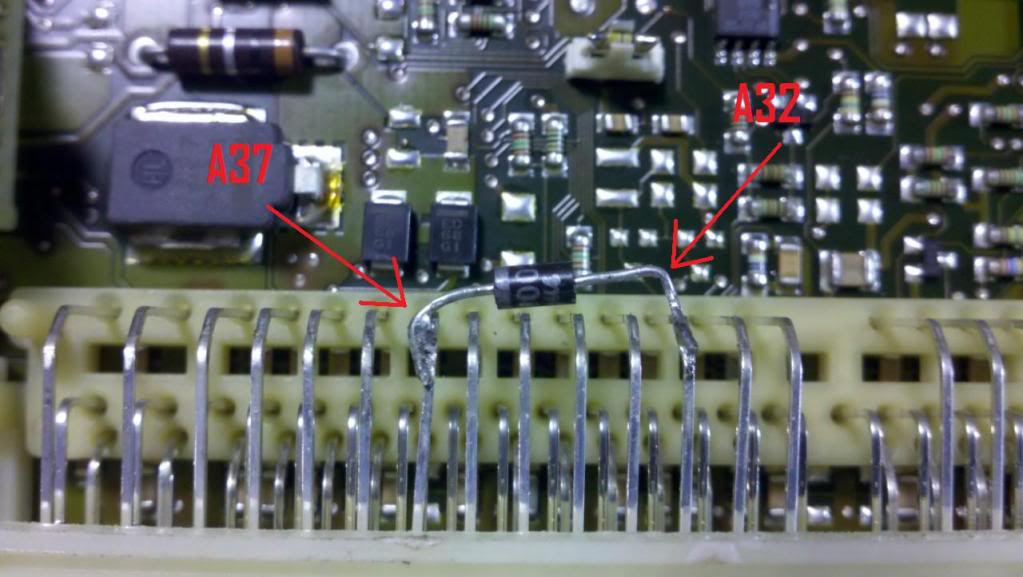 Solder in the diode