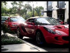 Two Reds, an S60R and an Elise