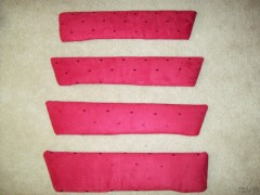 Leather Inserts AFTER being wrapped in red suede